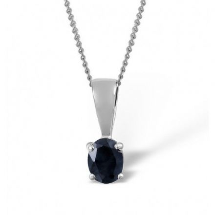 18K White Gold 5mm x 4mm Sapphire Pendant, DCP01-SW